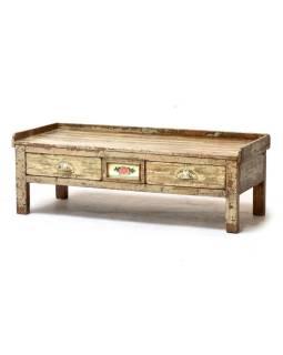 Starý Kupecký stolík z teakového dreva, krémová patina 100x43x35cm