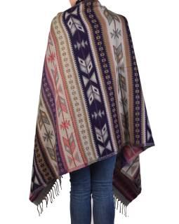 Veľký zimné šál s geometrickým vzorom, ružovo-šedá, 205x90cm
