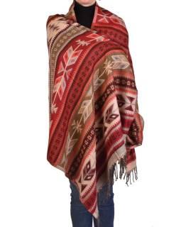Veľký zimné šál s geometrickým vzorom, béžovo-vínová, 205x90cm