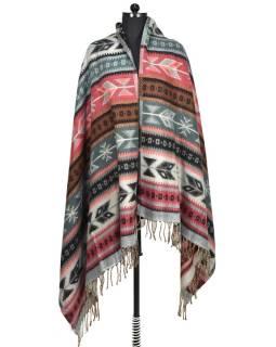 Veľký zimné šál s geometrickým vzorom, šedo-ružová, 205x90cm