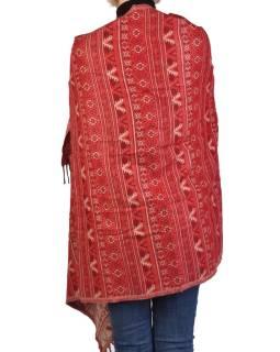 Veľký zimné šál s drobným geometrickým vzorom, červená, 205x90cm