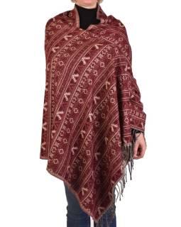 Veľký zimné šál s drobným geometrickým vzorom, vínová, 205x90cm