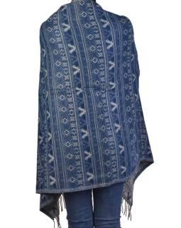Veľký zimné šál s drobným geometrickým vzorom, modrá, 205x90cm