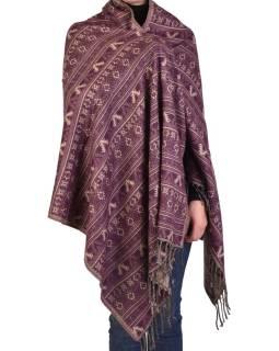 Veľký zimné šál s drobným geometrickým vzorom, fialová, 205x90cm