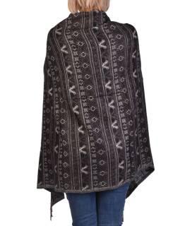 Veľký zimné šál s drobným geometrickým vzorom, čierna, 205x90cm