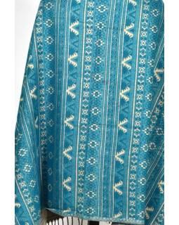 Veľký zimné šál s drobným geometrickým vzorom, tyrkysová, 205x90cm