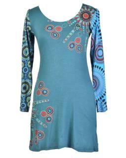 Modré šaty s dlhým rukávom, Sun dizajn, okrúhly výstrih, potlač a výšivka