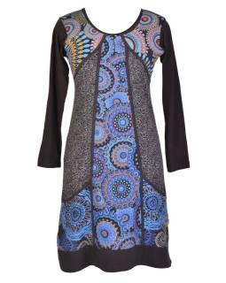 Čierno-modré šaty s vreckami, mandalový potlač, okrúhly výstrih