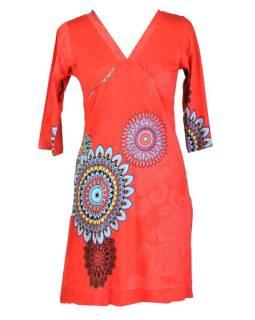 Červené šaty s dlhým rukávom, Mandala potlač, V výstrih
