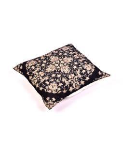 Povlak na vankúš, krémový, čierny mandala potlač, 40x40cm