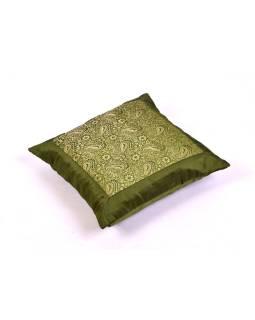 Povlak na vankúš s výšivkou paisley, saténový, zelený, zips, 40x40cm