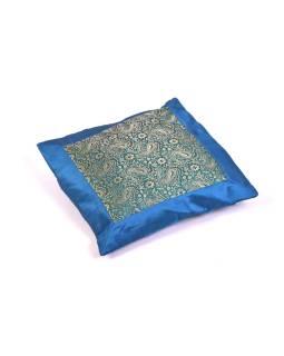 Povlak na vankúš s výšivkou paisley, saténový, modrý, zips, 40x40cm