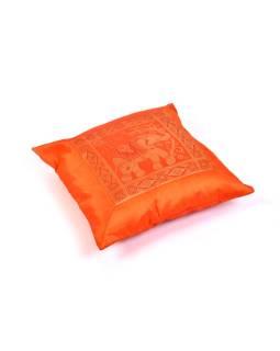 Oranžový saténový povlak na vankúš s výšivkou slon, zips, 40x40cm