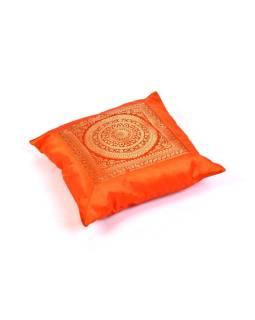 Oranžový saténový povlak na vankúš s výšivkou mandala, zips, 40x40cm
