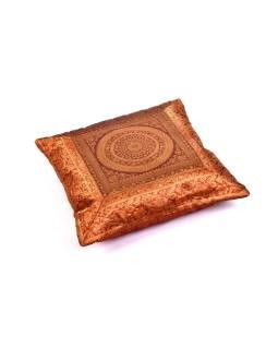 Hnedý saténový povlak na vankúš s výšivkou mandala, zips, 40x40cm