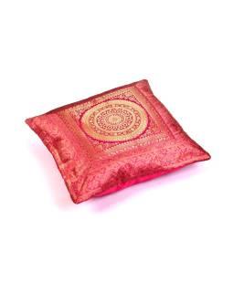 Ružový saténový povlak na vankúš s výšivkou mandala, zips, 40x40cm