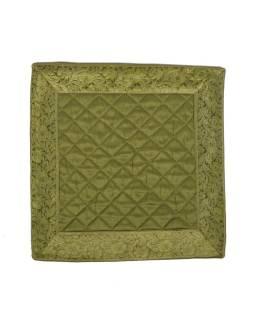 Zelený saténový povlak na vankúš s výšivkou, zips, 40x40cm
