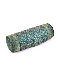 Vankúš valec, smaragdový, saténový s výšivkou paisley, 63x23cm