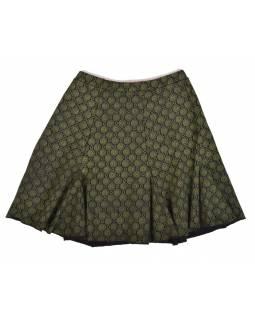 Krátka sukňa, čierna, zelená kolieska, elastický pás