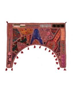 Záves nad dvere, Rajasthan, ručne vyšívané, oblúk, cca 78 * 100cm