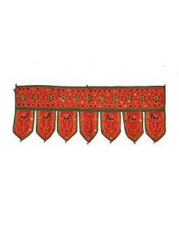 Záves nad dvere, reťazová výšivka, sklíčka, červený, 90x35cm