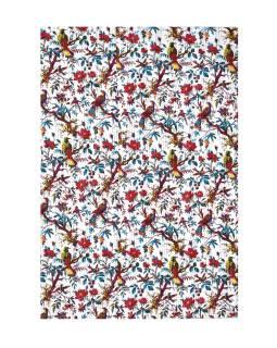 Posteľná prikrývka, biely, prešívaný, potlač vtákov a kvetín, ručné práce, 148x220cm