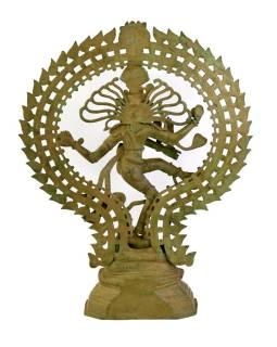 Soška Šiva Natarádža, mosadz, tyrkysová patina, tancujúce v kruhu, 60x20x75cm