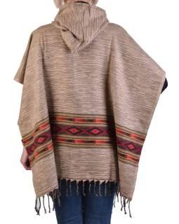 Farebné pončo s kapucňou a strapcami, vzor aztec, béžovej