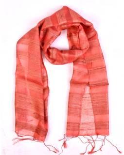 Šatka z hrubého hodvábu, losovo ružový, strapce, 35x180cm