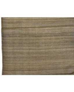 Šatka z hrubého hodvábu, khaki zelená, strapce, 35x180cm
