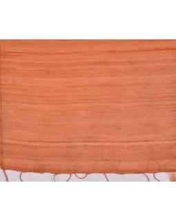 Šatka z hrubého hodvábu, svetlo oranžový, strapce, 35x180cm