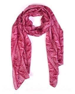 Hodvábny šál, pletený potlač, tmavo ružový, 180x50cm