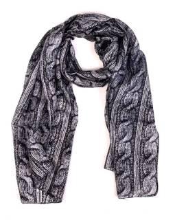 Hodvábny šál, pletený potlač, čierno-šedivý, 180x50cm