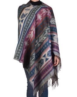Veľký zimné šál s geometrickým vzorom, fialovo-šedá, 205x90cm