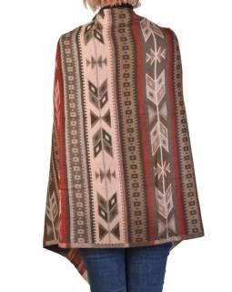 Veľký zimné šál s geometrickým vzorom, béžovo-červená, 205x90cm