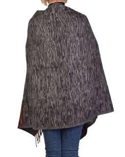 Veľký zimné šál s geometrickým vzorom, čierny, 205x90cm