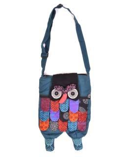 """Patchworková bavlnená taška cez rameno """"sova"""" modrá, so zipsom, 45x30 cm"""
