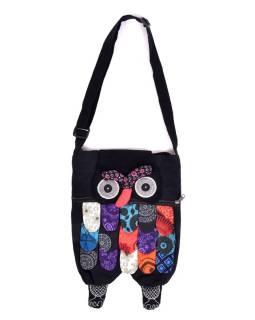 """Patchworková bavlnená taška cez rameno """"sova"""" čierna, so zipsom, 45x30 cm"""