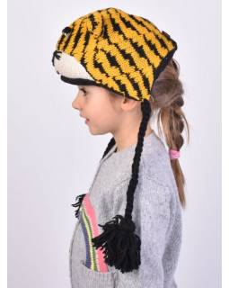 Čiapka s ušami, detská, tiger, žlto-čierna