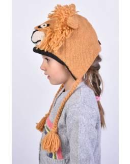 Čiapka s ušami, detská, lev, svetlo hnedá
