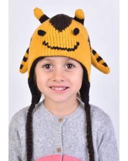 Čiapka s ušami, detská, včielka, žlto-hnedá