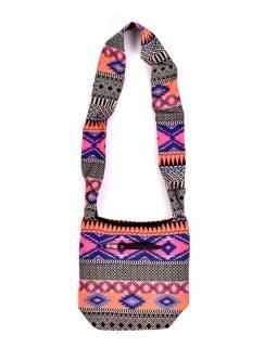 Taška cez rameno, farebné, malé, Aztec dizajn, zips 27x28 cm