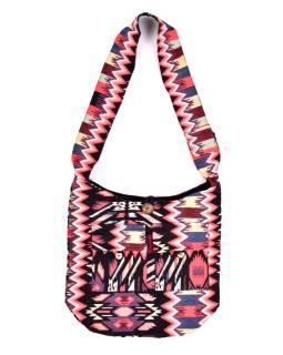 Taška cez rameno, farebná, veľká, Aztec dizajn, 2 predné vrecká, zips, 40x36 cm