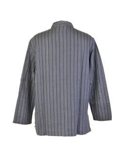 Pruhovaná pánska košeľa-kurta s dlhým rukávema vreckom, čierno šedá