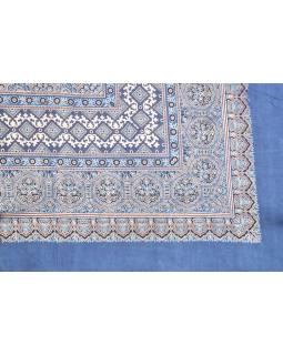 Posteľná prikrývka, modrý, blockprint, ručné práce, 240x280cm