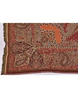 Prikrývka na posteľ, s motívom paisley, so strapcami, hnedo-vínový, 218x263cm