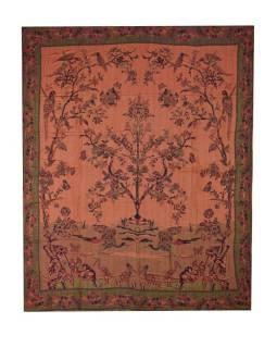 Prikrývka na posteľ, s motívom stromu, vtáky a motýle, strapce, čierno-vínový, 210x26