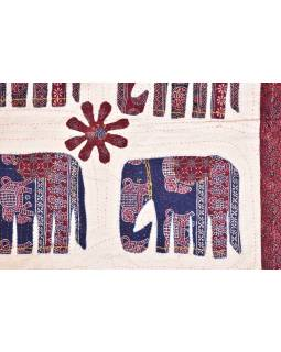 Patchworkový prehoz na posteľ, prešívaný so slonmi, 220x270cm