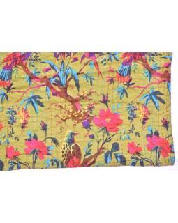 Posteľná prikrývka, zelený, prešívaný, potlač vtákov a kvetín, ručné práce, 220x270