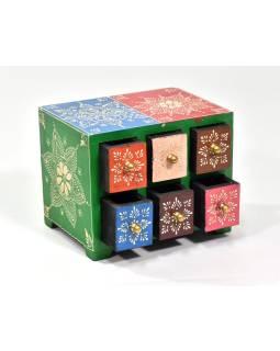Ručne maľovaná drevená skrinka so šiestimi zásuvkami, 19x14x14cm